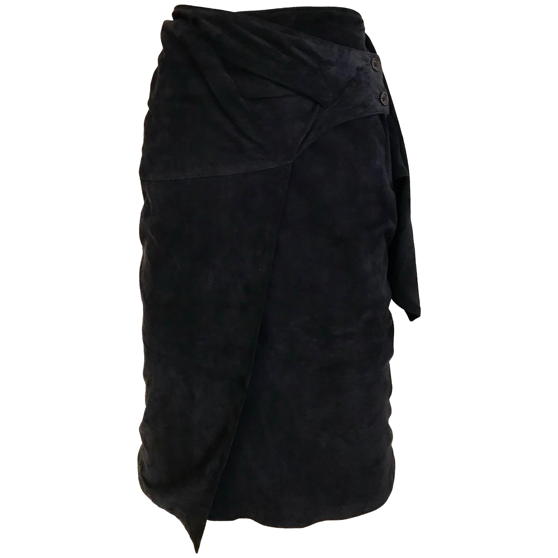 1980s Gianfranco Ferre Navy Suede Wrap Skirt