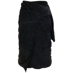 1980s Gianfranco Ferre Navy Suede Wrap Skirt