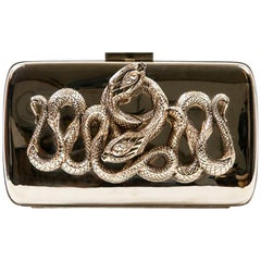 Roberto Cavalli Mirror Effect Gilt Metal and Snake Ornament Minaudière