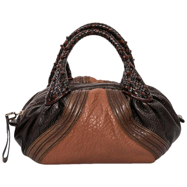 6b4b48e415 Fendi Mini Light and Dark Brown Leather Spy Bag
