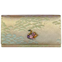 Vintage Clutch Bag with Swan Crystal Decoration
