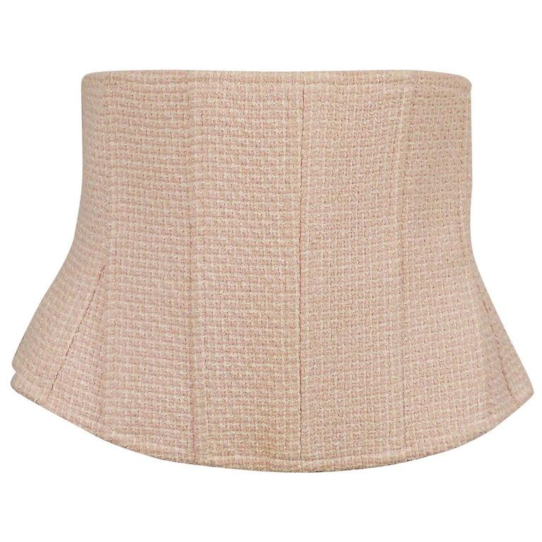 Chanel Vintage Classic Tweed Baby Pink Corset Belt