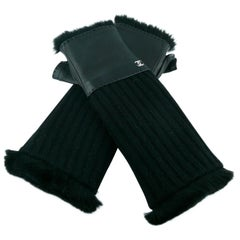 Chanel black lambskin and wool Fingerless Gloves
