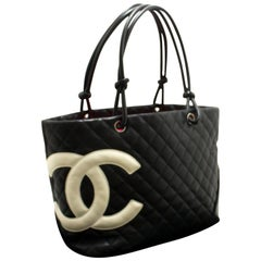 Chanel Cambon Large Black White Quilted Calfskin Shoulder Bag Tote