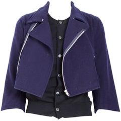 Comme des Garcons brown and blue biker cardigan jacket, 1992