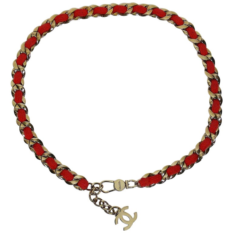 Chanel Chain and Coral Tweed Belt Necklace