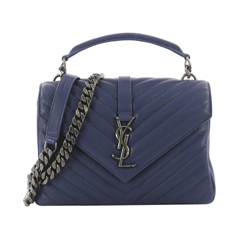 Saint Laurent Classic Monogram College Bag Matelasse Chevron Leather Medium  For Sale 33f0a8239cf18