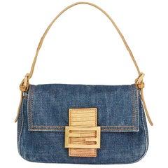 Fendi Blue Denim and Beige Lizard Leather Mini Mama Baguette Bag, 2000