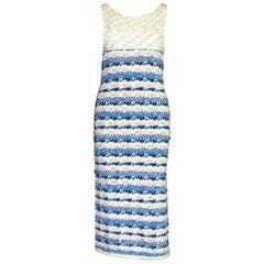 Stunning Chanel Signature Gripoix Buttons Crochet Knit Dress Gown