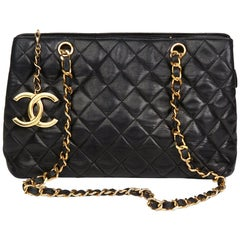 1989 Chanel Black Quilted Lambskin XL Timeless Charm Shoulder Bag