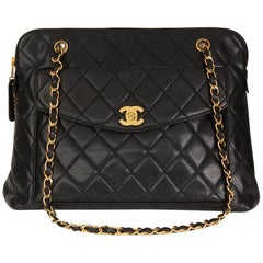 Chanel Black Quilted Caviar Leather Vintage Classic Shoulder Bag, 1996