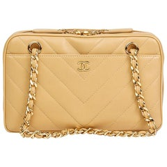 Chanel Beige Chevron Quilted Lambskin Classic Camera Bag, 2000