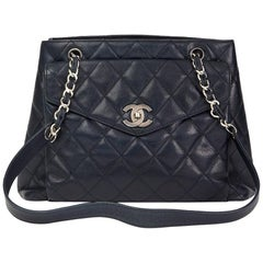 Chanel Navy Quilted Caviar Leather Vintage Classic Shoulder Bag, 1996
