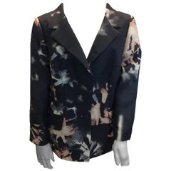 Rena Lange Black and Pink Floral Print Jacket