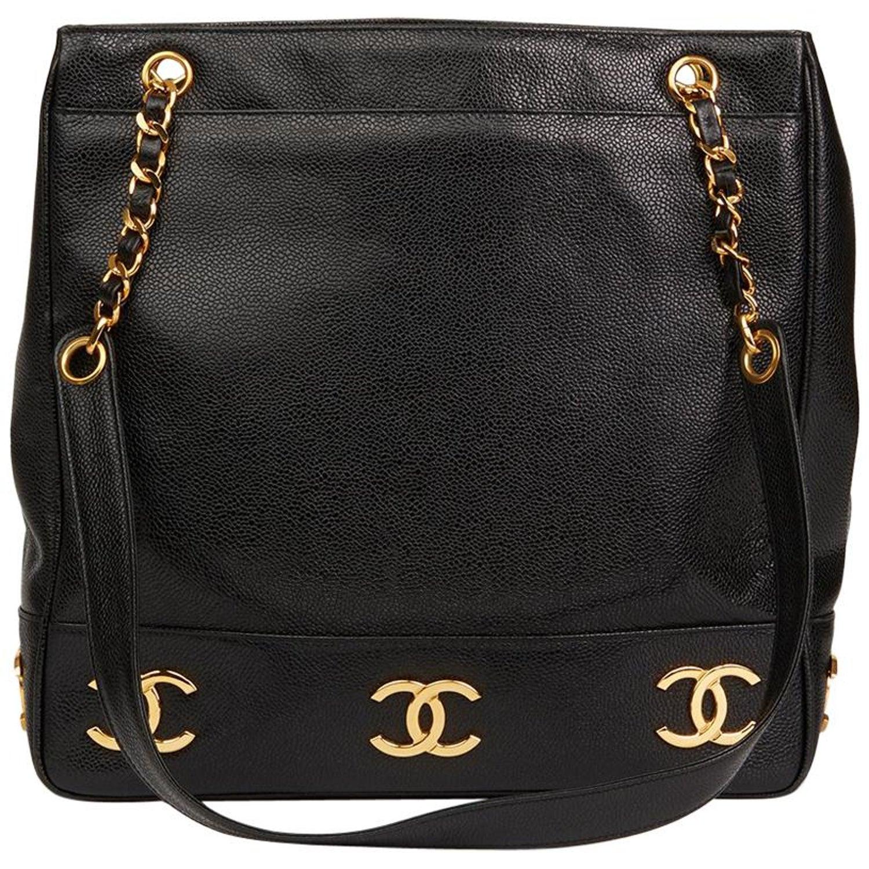 901167e2eddf 1992 Chanel Black Caviar Leather Jumbo Logo Trim Shoulder Bag at 1stdibs