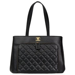 2017 Chanel Black Quilted Caviar Leather Large Shoulder Shopping Bag