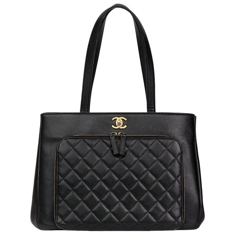 2017 Chanel Black Quilted Caviar Leather Large Shoulder Shopping Bag For  Sale 5d20818b67c66