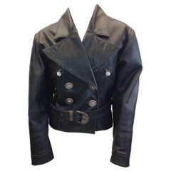 Versace Black Leather Jacket with Silver Buttons