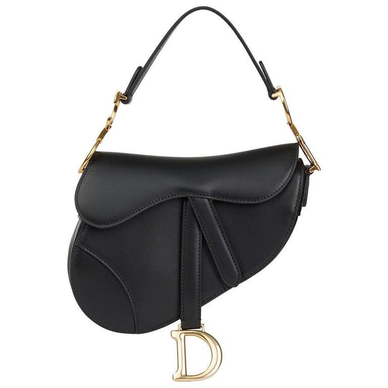 2018 Christian Dior Black Calfskin Leather Mini Saddle Bag