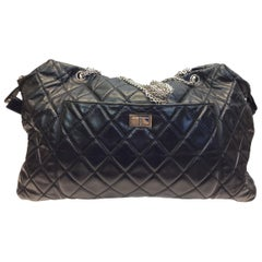 Chanel Large Black Leather Quilted Satchel