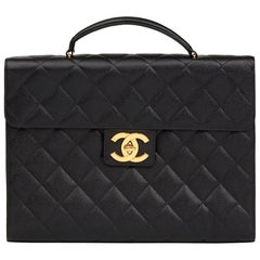 1996 Chanel Black Quilted Caviar Leather Vintage Jumbo XL Classic Briefcase