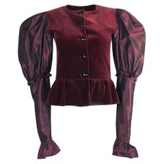 c.1982 Yves Saint Laurent Dramatic Sleeve Silk Taffeta & Velvet Jacket