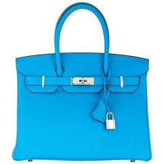 2017 Hermes Blue Zanzibar & Malachite Togo Leather Verso Birkin 30cm
