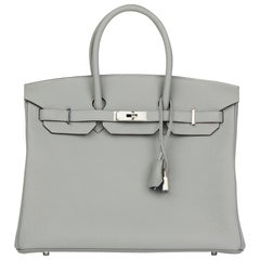 2016 Hermes Gris Mouette & Blue Agate Togo Leather Verso Birkin 35cm