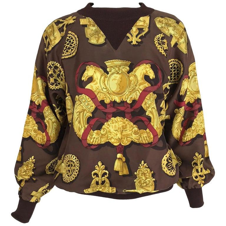 Hermes Ferronnerie Silk Twill Wool Knit Trim Shirt Sweater Caty Latham Vintage For Sale