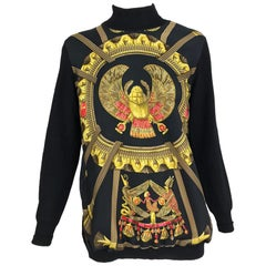 Hermes Scarab Scarabees et Pectoraux black silk twill scarf sweater 1970s Rare