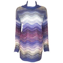 Missoni Multi Color Metallic Wave Design Turtleneck Sweater