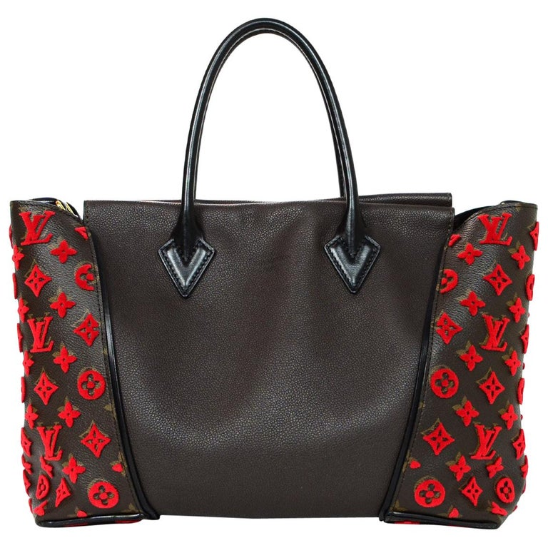 71ab4499c44 Louis Vuitton LV Monogram Brown Leather Red Velour W Tote Bag For Sale