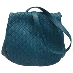 Bottega Veneta Turquoise Woven Leather Crossbody