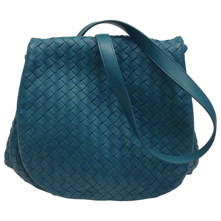 Bottega Veneta Turquoise Woven Leather Crossbody