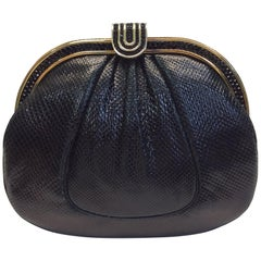 Judith Leiber Black Skin Clutch with Gold Hardware