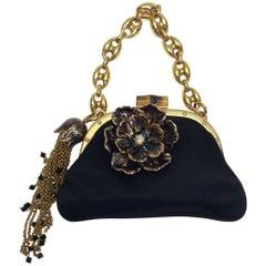 Gucci Small Black Satin Bloom Handbag