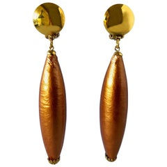 French Bronze  Pearl Architectural Statement Earrings