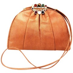 Vintage Judith Leiber Tan Lizard Convertible Shoulder Bag with Jeweled Closure