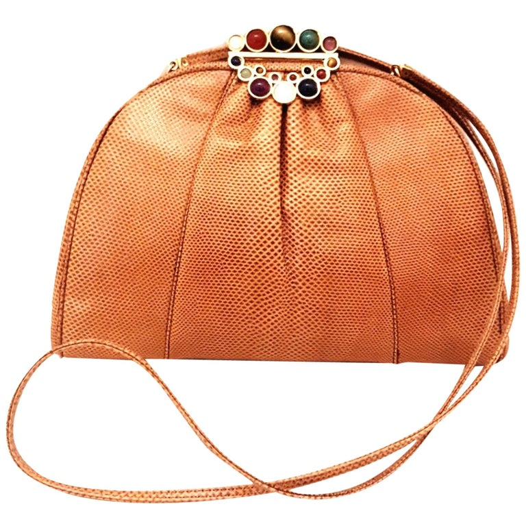 Vintage Judith Leiber Tan Lizard Convertible Shoulder Bag with Jeweled Closure  For Sale