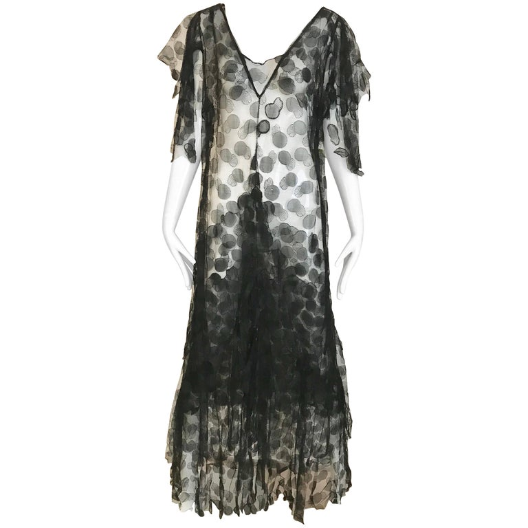 1930s Black Lace Gown For Sale