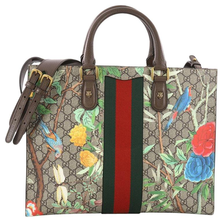 4815fcc352d5 Gucci Animalier Web Top Handle Tote Tian Print GG Coated Canvas Large For  Sale