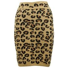 Alaia Vintage Leopard Pencil Skirt 1991 - Size XS