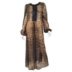 Dolce & Gabbana Silk Chiffon Caftan Gown with Leopard Print