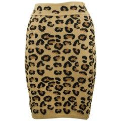 Alaia Vintage Leopard Pencil Skirt 1991 - Size S