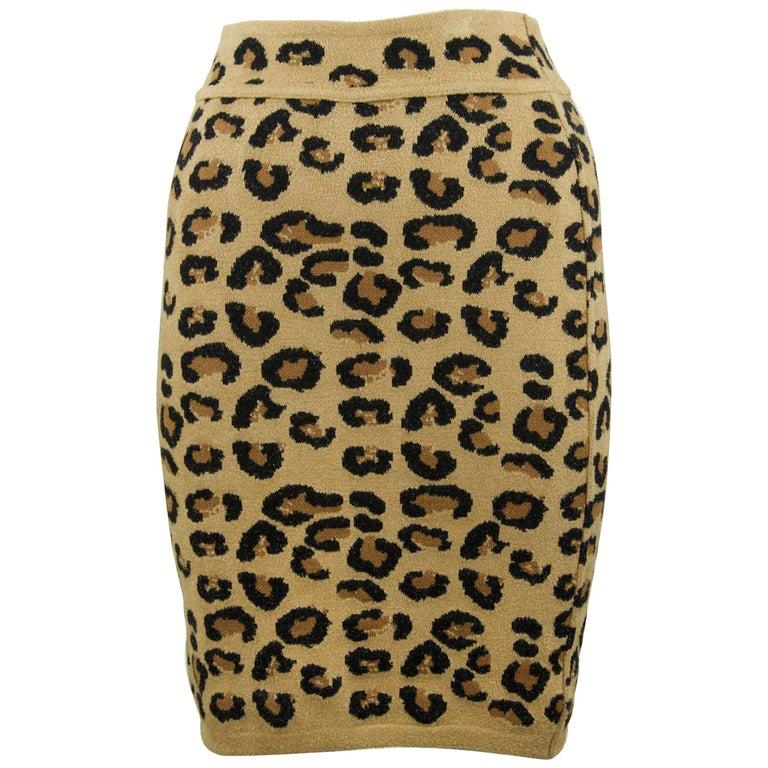 Alaia Vintage Leopard Pencil Skirt 1991 - Size S For Sale