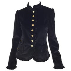 Dolce & Gabbana Velvet Jacket with Ruffle Trim
