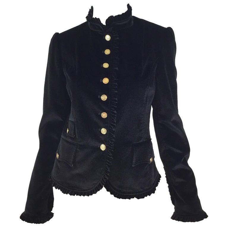 Dolce & Gabbana Velvet Jacket with Ruffle Trim For Sale