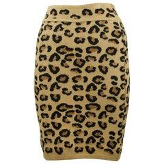 Alaia Vintage Leopard Pencil Skirt 1991 - Size M