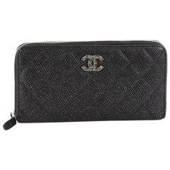 Chanel Zip Around Wallet Quilted Glittered Calfskin Long