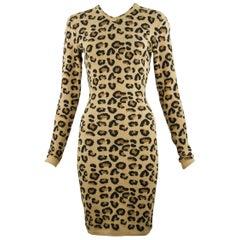 Alaia Vintage Leopard V Neck Dress 1991 - Size S